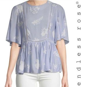 Endless Rose Blue and White Floral Blouse